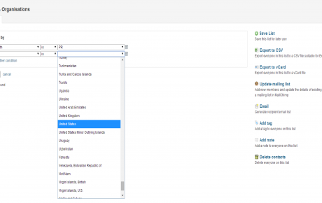 Screenshot from Capsule CRM of List Creation