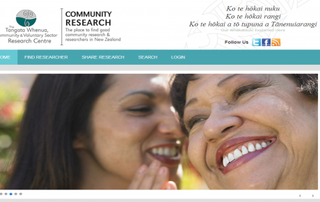 Screenshot from Community Research website including image of two women talking