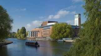 River, Royal Shakespeare Theatre and Tower against a beautiful blue sky.